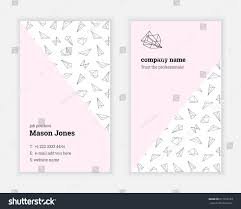 white pink doublesided business card template stock vector