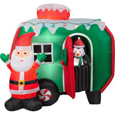 6 u0027 animated airblown inflatable santa and pop out penguin rv scene