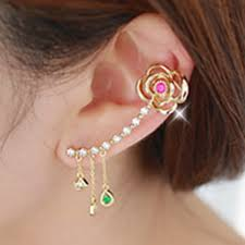 cuff earrings with chain ear cuff earring with chain topearrings earrings with cuff and