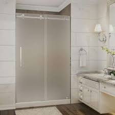 Shower Stalls With Glass Doors Frosted Shower Stalls Kits Showers The Home Depot