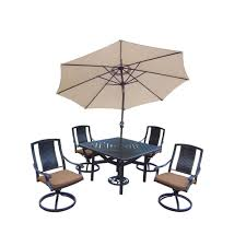 Outdoor Patio Dining Sets With Umbrella - hampton bay woodbury 7 piece patio dining set with chili cushion