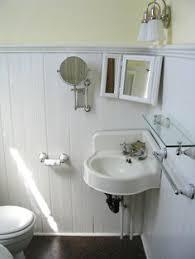 Powder Room With Pedestal Sink Small Powder Room With Pedestal Sink In The Corner And Beadboard