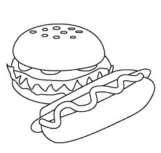 download burger and hotdog coloring pages of food or print burger