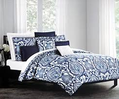 tahari bedding 3 piece full queen duvet cover set blue floral