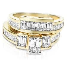 yellow gold bridal sets engagement wedding ring bridal set 3 50ct princess cut diamond