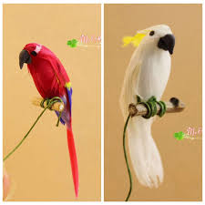 cute mini furniture model clay feather birds parrot home