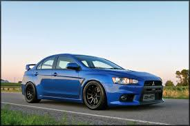 blue mitsubishi lancer one tastefully modded mitsubishi lancer evo x