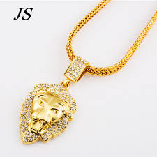 man charm necklace images Js 24k gold filled lion head neclace men hip hop dance charm jpg