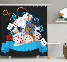 amazon com alice in wonderland decorations shower curtain set by