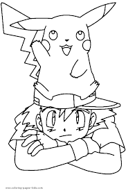 ash pokemon coloring pages getcoloringpages