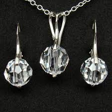 swarovski crystal necklace set images Clear swarovski crystal jewelry set sterling 925 bridal jewelry jpg