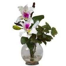 Silk Flower Centerpieces 14 5 In H White Mini Cattleya With Fluted Vase Silk Flower