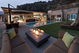 exterior alluring modern outdoor fireplace design with also deck