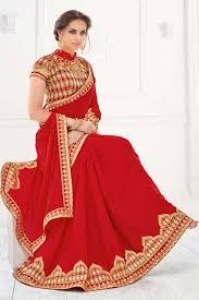 color designer marvelous red color designer embroidered silk saree with designer
