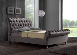 Sleigh King Size Bed Frame Chesterfield Upholstered Sleigh Grey Fabric 4ft6 135cm