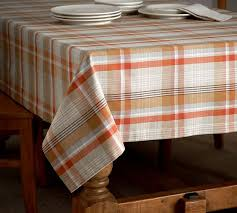 pumpkin plaid tablecloth pottery barn