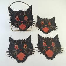 dennison halloween scaredy cat black cat face set of four 4 die