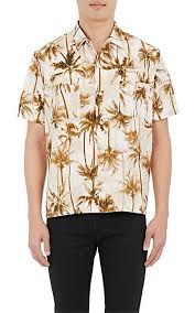 laurent palm tree print sleeve shirt barneys york