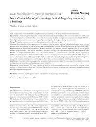 nurses u0027 knowledge of pharmacology behind drugs they commonly