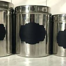 kitchen canisters stainless steel chalkboard canister set black removable tea and coffee stickers