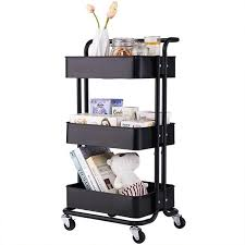 kitchen storage cupboard on wheels 3 tier rolling cart utility service cart rolling storage shelves with handles rustproof steel kitchen storage cart bakers rack for holding books