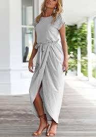 grey maxi dress grey slit belt neck sleeve casual maxi dress maxi