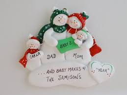 family of 4 personalized ornament with new baby family of 4