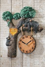 napping bears lighted woodland wall clock w sound lodge cabin den