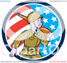 World War 2 Us Flag Clipart Of A Cartoon World War Ii Soldier Marching With A Rifle In