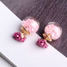 flower earrings sweet earrings glass wishing flower