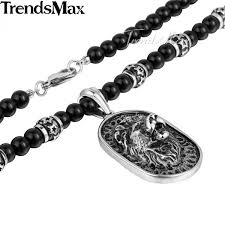 pendant necklace bead images Trendsmax 70 6cm black glass bead link chain 316l stainless steel jpeg