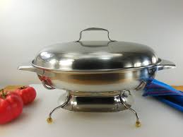 revere ware 1950s buffet line stainless oval lidded casserole dish