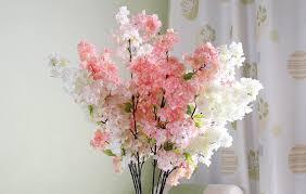 2 pieces artificial silk cherry blossom flowers for wedding