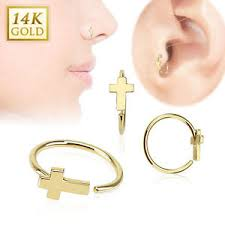 earring studs with loop 14k solid gold cross hoop loop rings stud nose ear tragus daith