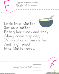 find the letter f little miss muffet worksheet education com