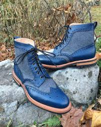 two tone leather flannel country style boots by alfred sargent