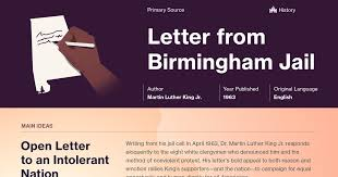 letter from birmingham jail documents course hero