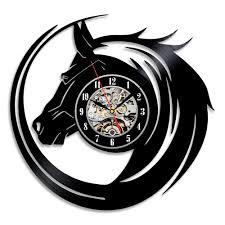 horse shaped beautiful black vinyl record wall clock readytogift
