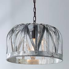 Galvanized Pendant Light Galvanized Metal Basket Pendant Shades Of Light