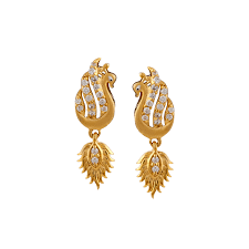 peacock design earrings peacock design drops gold type earrings
