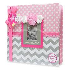 baby girl memory book ad sutton our girl memory book in pink grey buybuy baby
