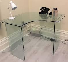 Glass Corner Computer Desks For Home Glass Corner Desk Deboto Home Design Ideas For