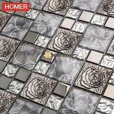 shop gray glass mixed 3d carved flower stainless