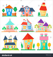 cute cartoon houses collection funny colorful stock vector