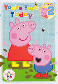peppa pig birthday peppa pig and george 2nd birthday card with badge cardspark