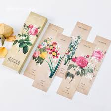 gift card book delicate flowers theme vintage paper bookmark 30 cards diy message