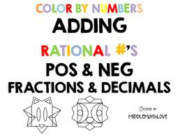 adding rational number worksheets color by numbers fractions