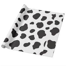 cow print wrapping paper animal print cow pattern cow spots white black wrapping paper