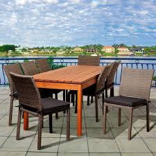 Round Wicker Patio Dining Set - hampton bay blue springs 7 piece patio dining set with blue dot