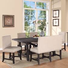 modus yosemite 8 piece oval dining table set with upholstered